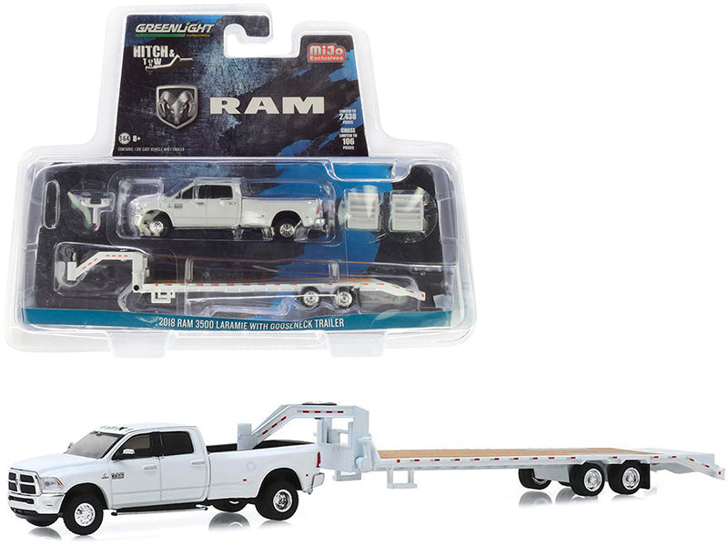 "2018 Dodge Ram 3500 Laramie Pickup Truck with Gooseneck Trailer White ""Hitch & Tow"" Series Limited Edition to 2,438 pieces Worldwide 1/64 Diecast Model Car - Greenlight - 51308"