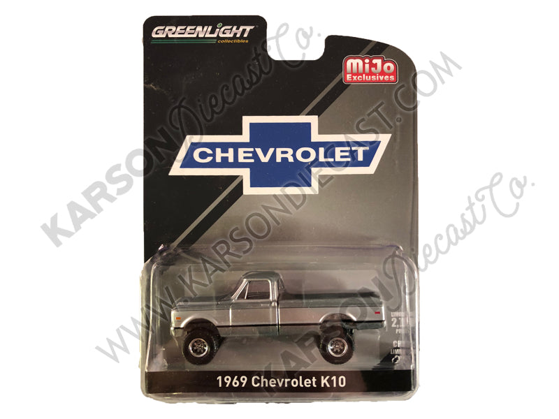 CHASE 1969 K10 Pickup Truck RAW Black and Silver Limited Edition to 2750 Pieces Worldwide 1:64 Diecast Model Car - Greenlight - 51337