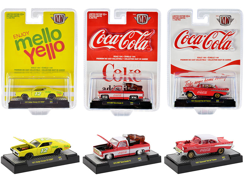 """Coca-Cola & Mello Yello'' Diecast Model Set of 3 Cars 1:64 - M2 Machines - 52500-A02"