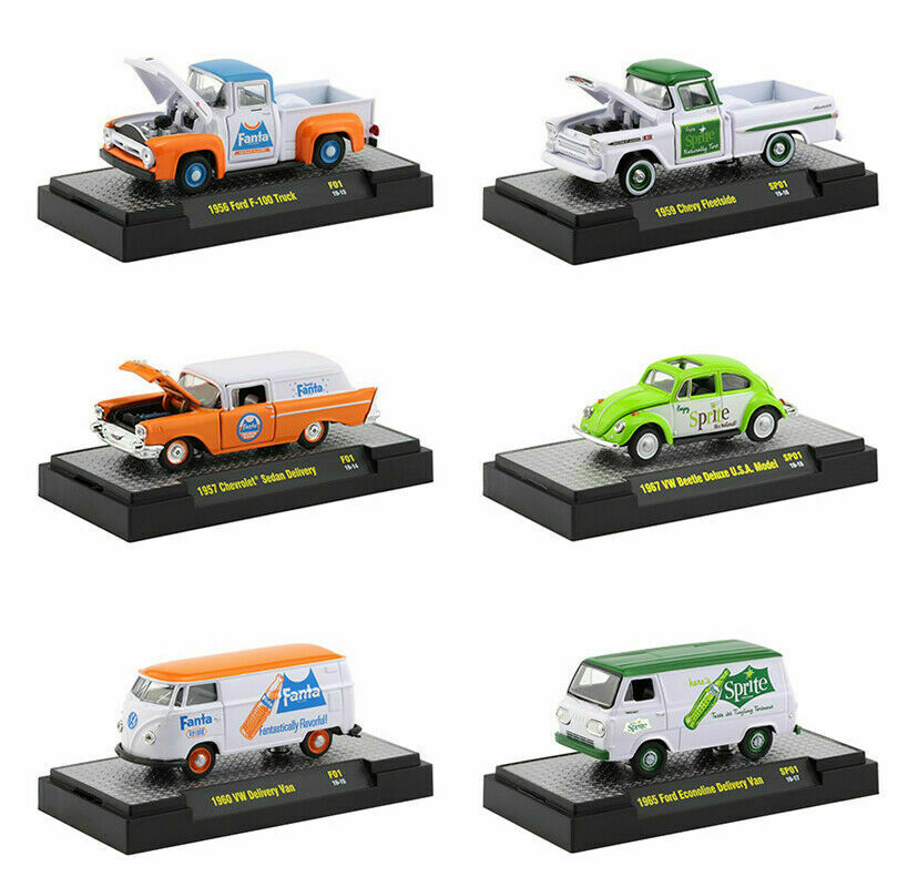 Fanta and Sprite Release, Set of 6 Cars Limited to 3,000 Pieces 1:64 Diecast Model Cars - M2 Machines 52500-F01-SP01