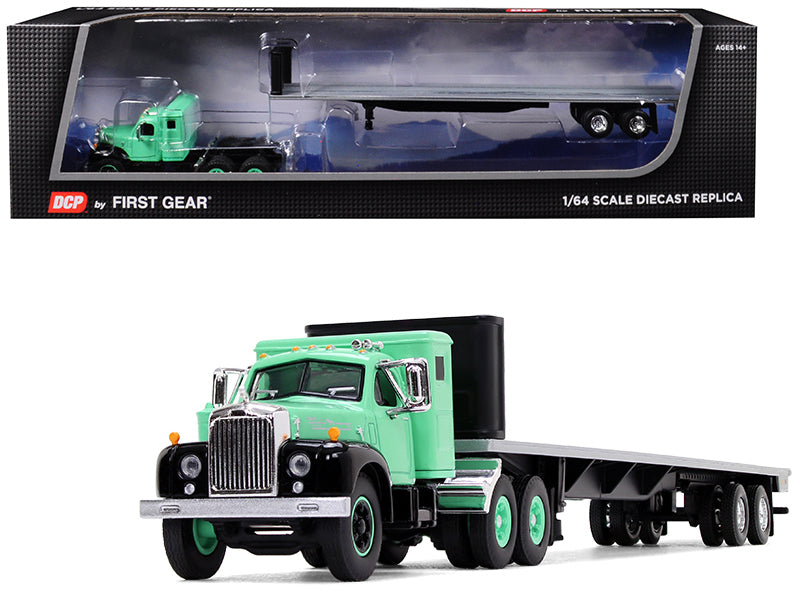 Mack B-61 with Sleeper Cab and 48' Flatbed Trailer Antique Green 1/64 Diecast Model - DCP/First Gear - 60-0516