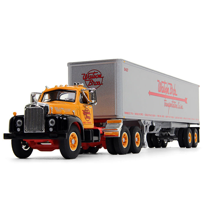 "Mack B-61 Day-Cab with 40' Vintage Trailer ""Watson Bros. Transportation"" 1:64 Scale Diecast Model - First Gear 60-0570"