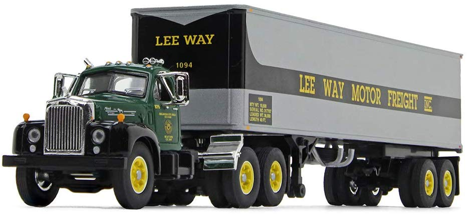 Mack B-61 Day Cab with 40' Vintage Trailer Lee Way Motor Freight, Inc 1:64 Scale Diecast Collectible Model - First Gear - 60-0572