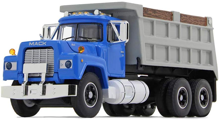 Mack R Dump Truck Blue/Gray 1/64 Scale Collectible Diecast - First Gear - 60-0580