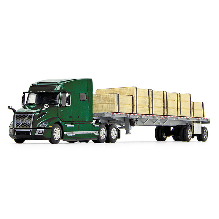 Volvo VNL 740 Mid-Roof Sleeper w/ Wilson Flatbed Trailer w/ Lumber Load 1/64 Scale Diecast Model - First Gear - 60-0641