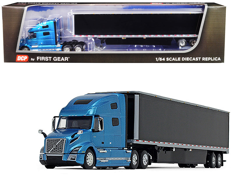 Volvo VNL 760 High-Roof Sleeper Cab with 53' Dry Goods Trailer and Skirts Sky Blue Metallic and Black 1/64 Diecast Model - DCP/First Gear - 60-0644