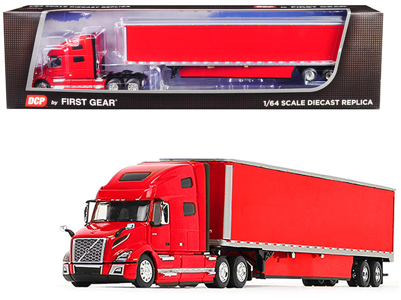 Volvo VNL 760 High-Roof Sleeper Cab with 53' Dry Goods Trailer and Skirts Viper Red 1/64 Diecast Model - DCP/First Gear - 60-0646