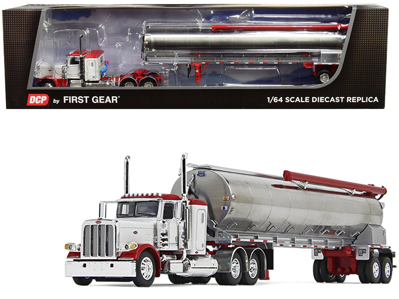 "Peterbilt 389 36"" Flattop Sleeper Cab with Walinga Tandem-Axle Bulk Feed Trailer White and Chrome 1/64 Diecast Model - DCP/First Gear - 60-0724"