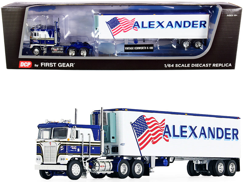 "Kenworth K100 COE Flattop with 40' Vintage Reefer Refrigerated Trailer ""Alexander Trucking"" Blue and White 36th in a ""Fallen Flag Series"" 1:64 Diecast Model - DCP/First Gear 60-0846"