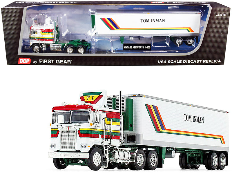 "Kenworth K100 COE Flattop with 40' Vintage Reefer Refrigerated Trailer ""Tom Inman Trucking"" White with Stripes 35th in a ""Fallen Flag Series"" 1:64 Diecast Model - DCP/First Gear 60-0847"