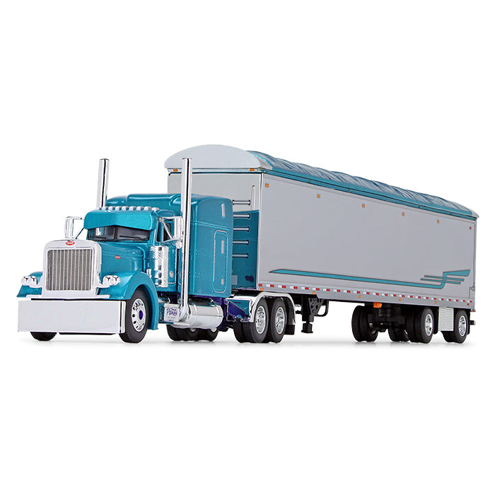 "Peterbilt Model 379 63"" Mid-Roof Sleeper with Walking Floor Trailer 1:64 Scale Diecast Model - First Gear 69-0800"