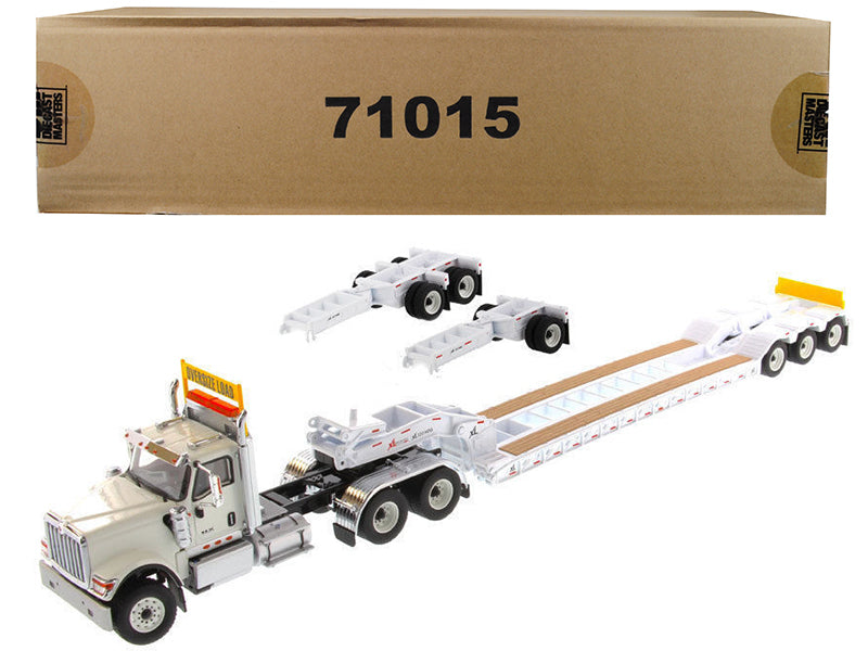 International HX520 Tandem Tractor White w/ XL 120 Lowboy Trailer 1:50 Scale Model - Diecast Masters - 71015