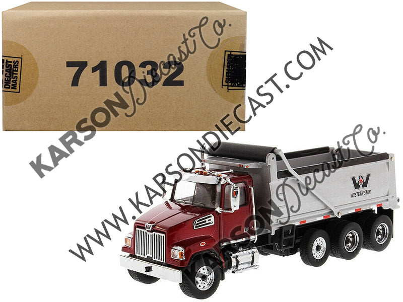 Western Star 4700 SF Dump Truck Metallic Red w/ Silver Body 1:50 Scale Model - Diecast Masters - 71032