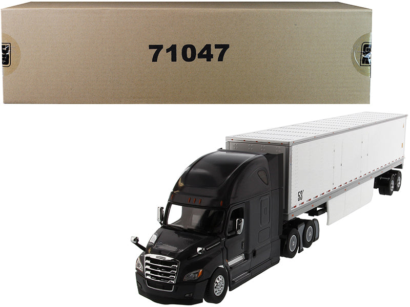 "Freightliner New Cascadia Sleeper Cab Black with 53' Dry Van Trailer White ""Transport Series"" 1/50 Diecast Model - Diecast Masters - 71047"