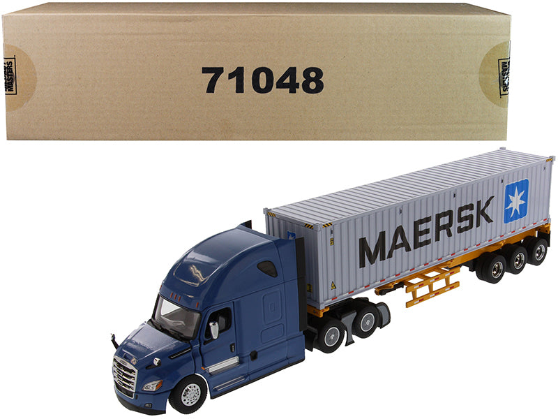 "Freightliner New Cascadia Blue with Skeleton Trailer and 40' Dry Goods Sea Container ""MAERSK"" ""Transport Series"" 1/50 Diecast Model - Diecast Masters - 71048"