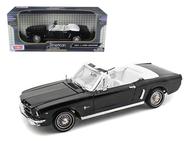 1964 1/2 Ford Mustang Black Convertible 1:18 Diecast Model - Motormax - 73145BK