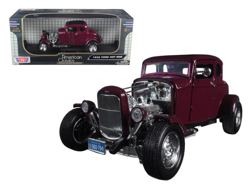 1932 Ford Coupe Burgundy 1:18 Scale Diecast Model - Motormax - 73172BUR
