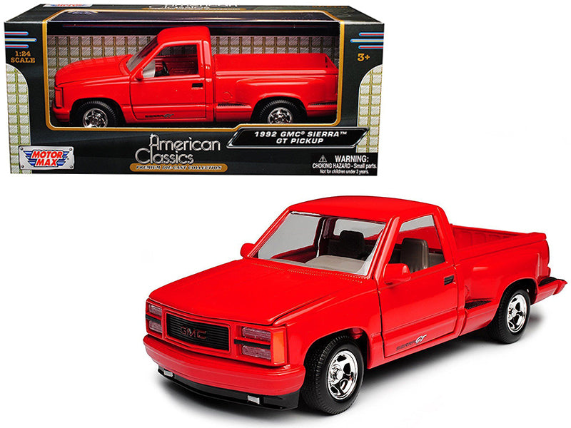 1992 GMC Sierra GT Red Pickup Truck 1:24 Diecast Model - Motormax - 73204RD
