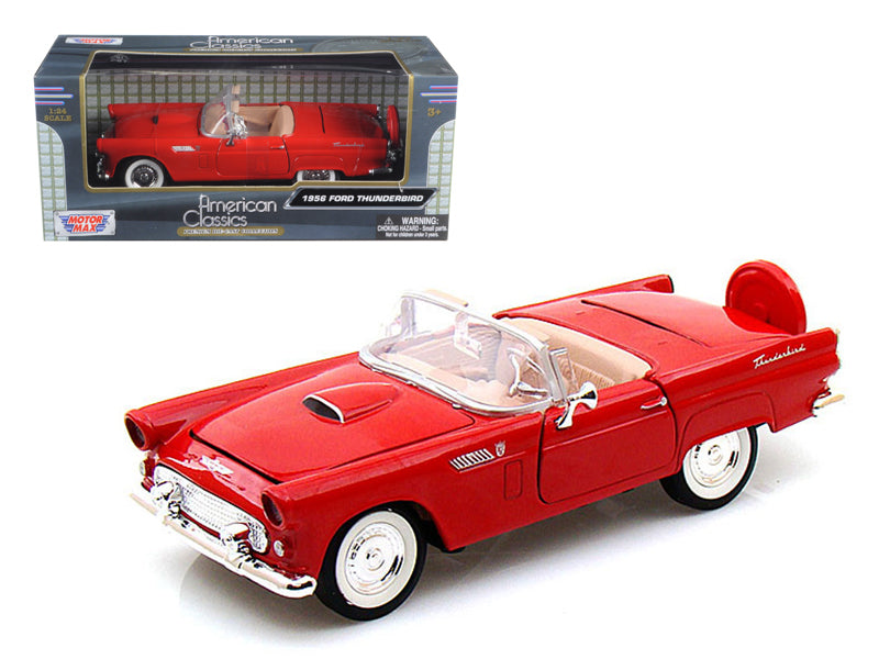 1956 Ford Thunderbird Convertible Red 1:24 Diecast Model Car - Motormax - 73215RD