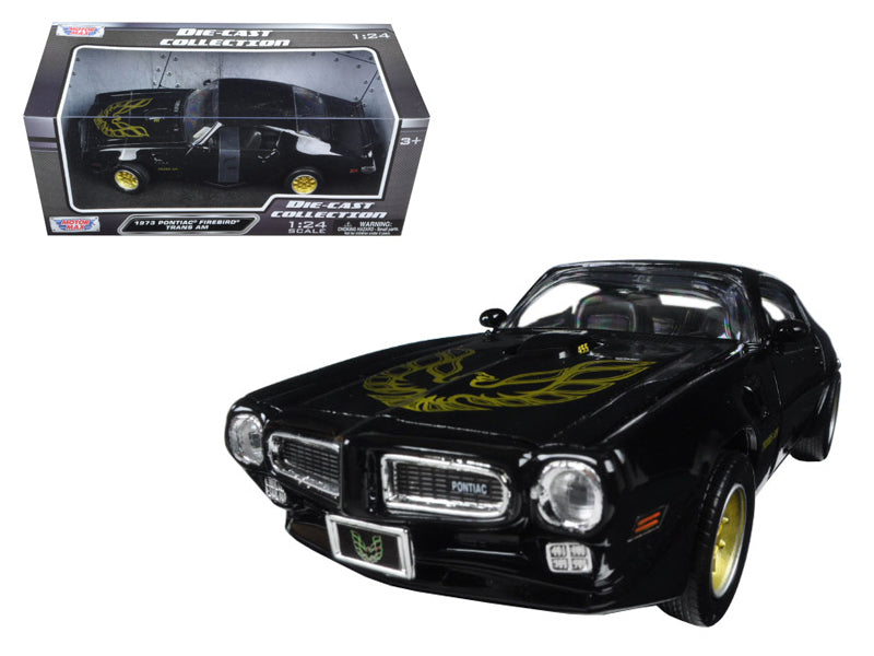 1973 Pontiac Firebird Trans Am Black w/ Gold Wheels 1:24 Diecast Model Car - Motormax - 73243BKG