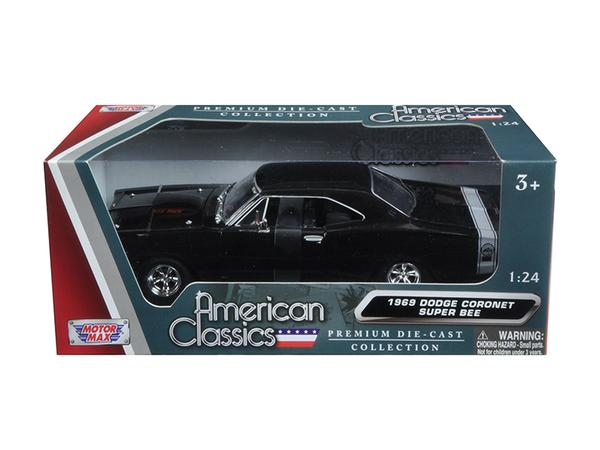 1969 Dodge Coronet Super Bee Black 1:24 Diecast Model - Motormax - 73315BK