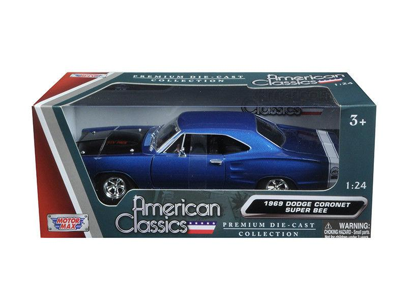 1969 Dodge Coronet Super Bee Blue 1:24 Diecast Model - Motormax - 73315BL