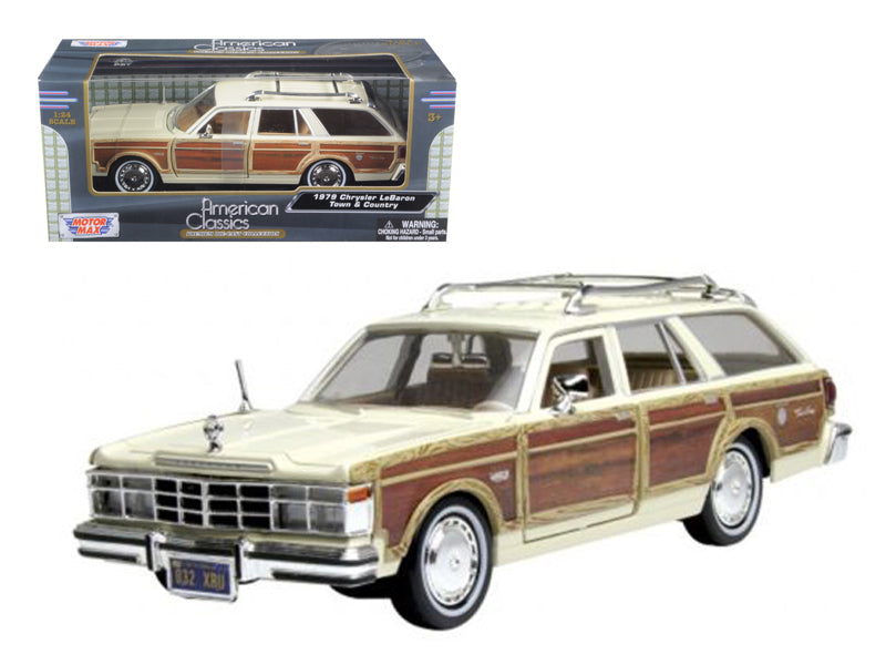 1979 Chrysler Lebaron Town & Country Cream 1:24 Diecast Model Car - Motormax - 73331