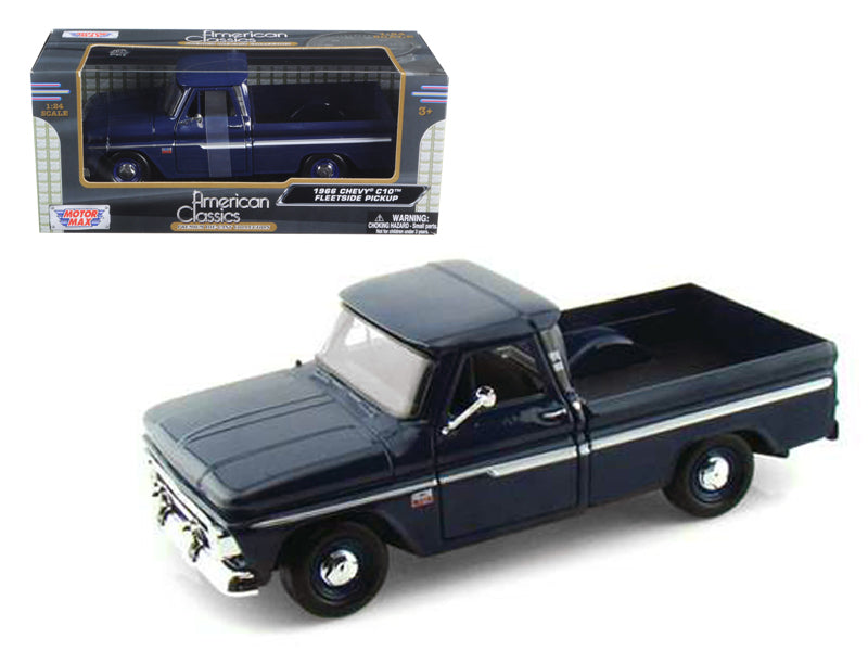 1966 Chevrolet C10 Fleetside Pickup Truck Dark Blue 1:24 Diecast Car Model - Motormax - 73355DKBL
