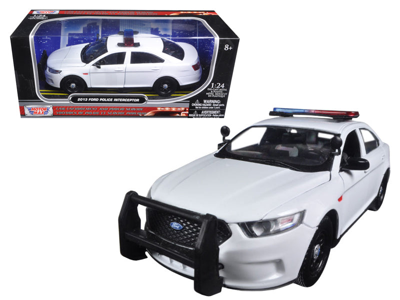 2013 Ford Taurus Police Interceptor Unmarked Police Car White 1:24 Diecast Model - Motormax 76924