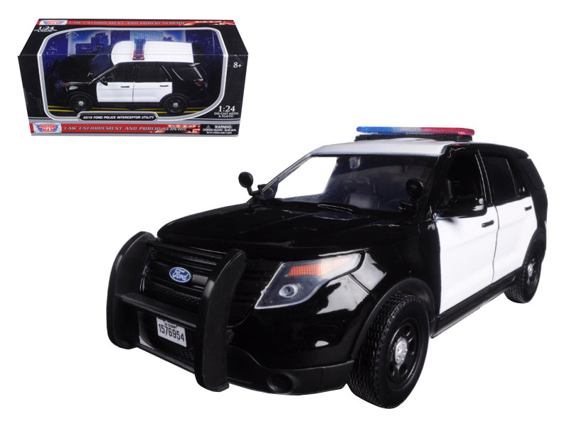 2015 Ford Explorer Police Interceptor Unmarked Black and White 1:24 Diecast Model - Motormax - 76958