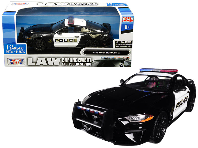 "2018 Ford Mustang GT Police Black and White ""Law Enforcement and Public Service"" Series 1:24 Diecast Model - Motormax - 76968"