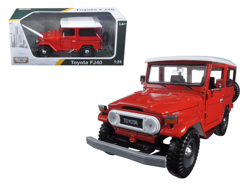 Toyota FJ40 Red with White Top 1:24 Diecast Model Car - Motormax 79323RD