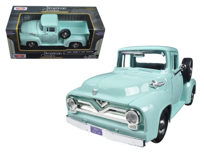 1955 Ford F-100 Pickup Truck 1:24 Diecast Model Light Green - Motormax - 79341LTGRN