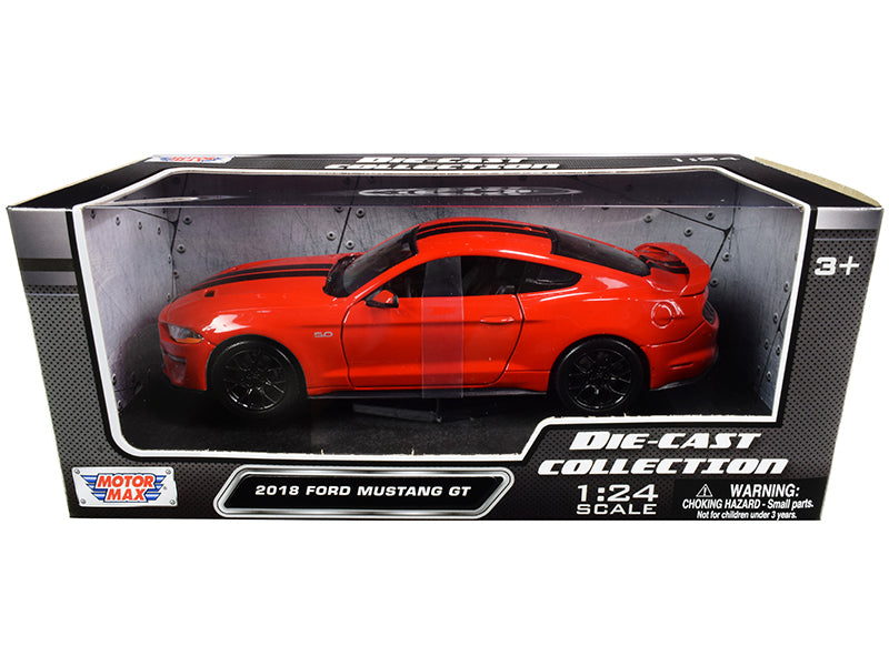2018 Ford Mustang GT 5.0 Red with Black Stripes 1:24 Diecast Model Car - Motormax - 79352RDBK