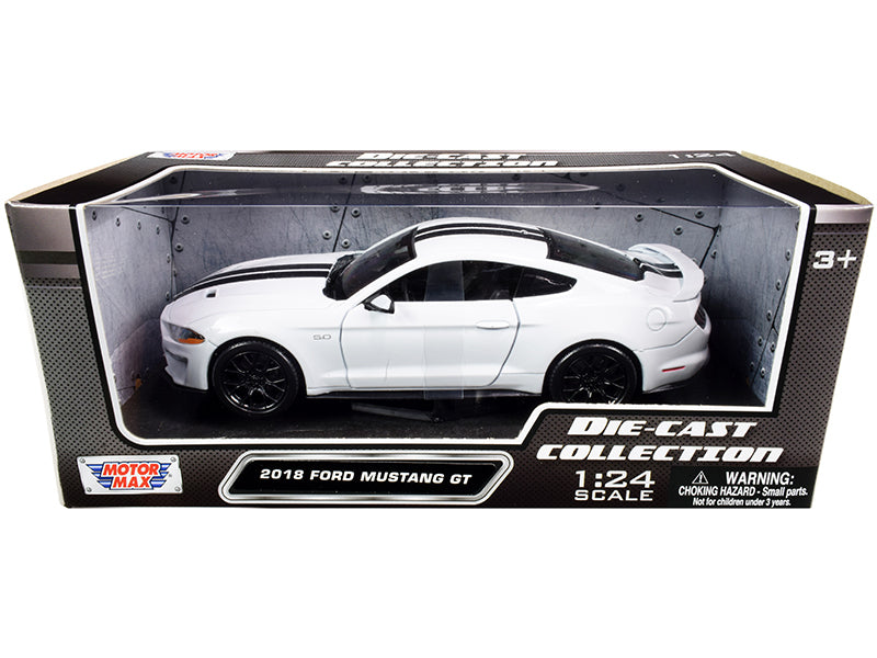 2018 Ford Mustang GT 5.0 White with Black Stripes 1:24 Diecast Model Car - Motormax - 79352WHBK