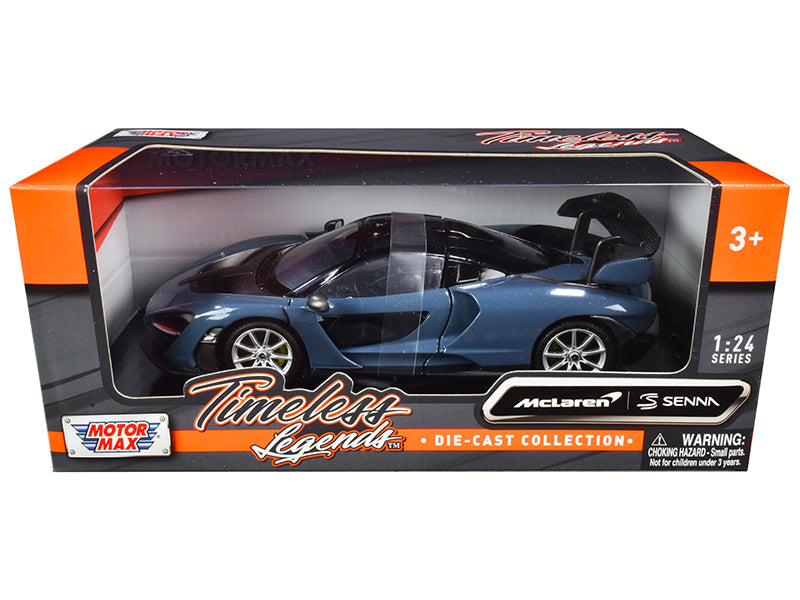 "McLaren Senna Gray Blue Metallic and Black ""Timeless Legends"" 1:24 Diecast Model Car - Motormax - 79355BL"