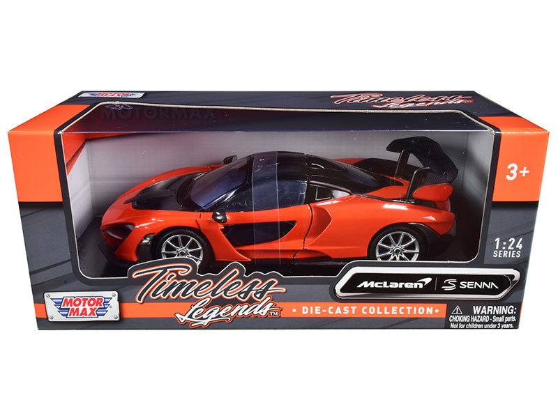 "McLaren Senna Orange Metallic and Black ""Timeless Legends"" 1:24 Diecast Model Car - Motormax - 79355OR"
