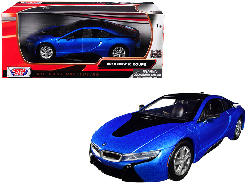 2018 BMW i8 Coupe Metallic Blue with Black Top 1:24 Diecast Model Car - Motormax - 79359BL