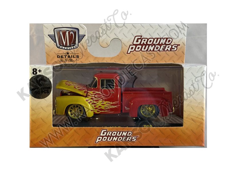 "CHASE 1956 Ford F-100 Pickup Truck Bright Red with Bright Yellow Flames ""Ground Pounders"" Release 20 in Display Case 1:64 Diecast Model Cars - M2 Machines 82161-20"