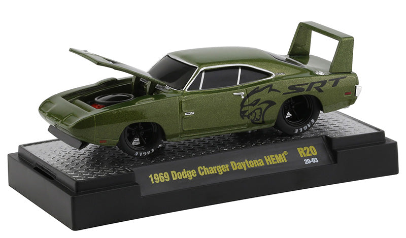 "1969 Dodge Charger Daytona HEMI Green Metallic with Black Graphics ""Ground Pounders"" Release 20 in Display Case 1:64 Diecast Model Cars - M2 Machines 82161-20"