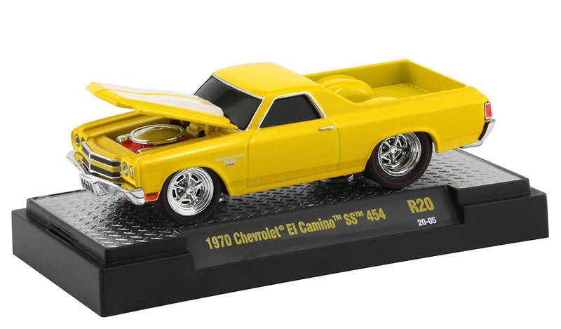 "1970 Chevrolet El Camino SS 454 Bright Yellow with White Stripes ""Ground Pounders"" Release 20 in Display Case 1:64 Diecast Model Cars - M2 Machines 82161-20"