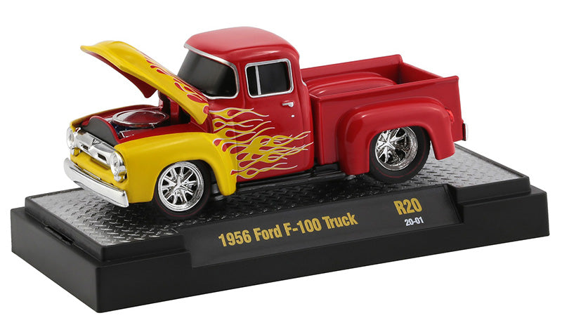 "1956 Ford F-100 Pickup Truck Bright Red with Bright Yellow Flames ""Ground Pounders"" Release 20 in Display Case 1:64 Diecast Model Cars - M2 Machines 82161-20"