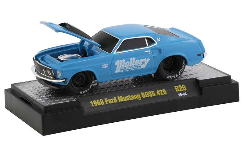 "1969 Ford Mustang BOSS 429 Blue with White Graphics ""Ground Pounders"" Release 20 in Display Case 1:64 Diecast Model Cars - M2 Machines 82161-20"
