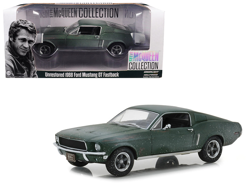 1968 Mustang GT Green Unrestored Steve McQueen 1:24 Diecast Model - 84043