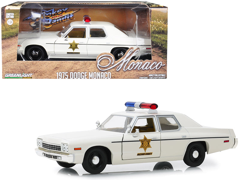 "1975 Dodge Monaco Cream ""Hazzard County Sheriff"" 1/24 Diecast Model Car - Greenlight - 84094"