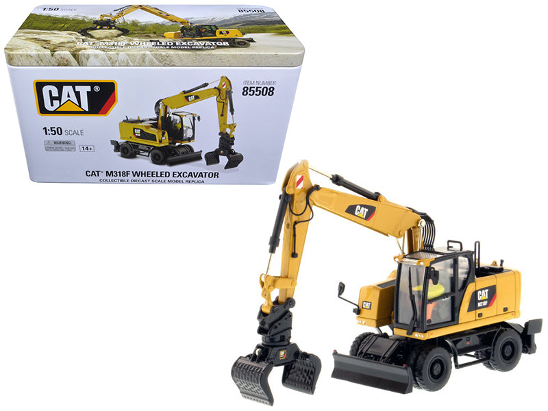 "CAT Caterpillar M318F Wheeled Excavator w/ Operator ""High Line Series"" 1:50 Diecast Model - Diecast Masters - 85508"