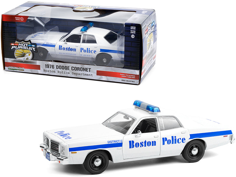 "1976 Dodge Coronet White with Blue Stripes ""Boston Police Department"" (Massachusetts) ""Hot Pursuit"" Series 1:24 Diecast Model Car - Greenlight - 85521GL"
