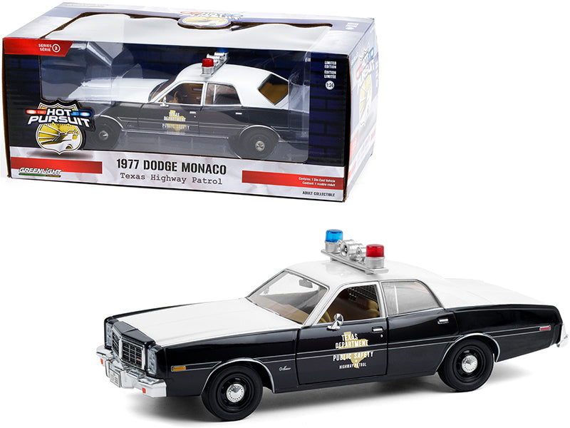 "1977 Dodge Monaco ""Texas Highway Patrol"" Police Car Black and White ""Hot Pursuit"" Series 1:24 Diecast Model Car - Greenlight 85522GL"