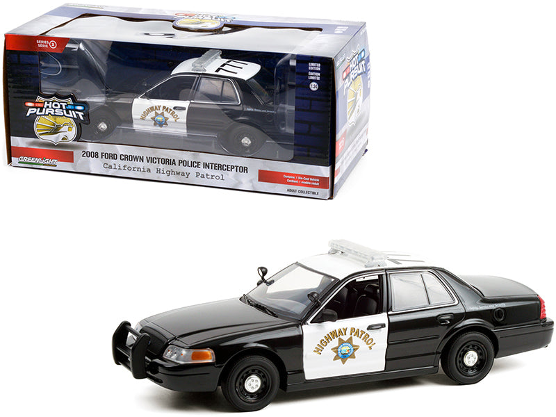 "2008 Ford Crown Victoria Police Interceptor Black and White CHP ""California Highway Patrol"" ""Hot Pursuit"" Series 1:24 Diecast Model Car - Greenlight 85523GL"