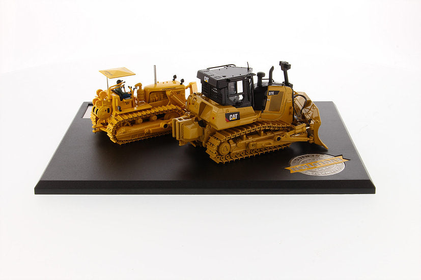 "Caterpillar CAT D7C Track Type Tractor (Circa 1955-1959) & Caterpillar CAT D7E Electric Drive Track Type Tractor (Current) w/ Operators ""Evolution Series"" Set of 2 pieces 1:50 Scale Models - Diecast Masters - 85561"